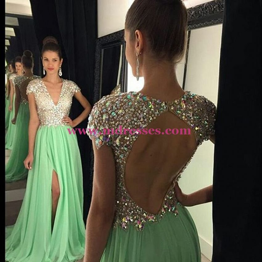 V-Neck Cap Sleeves Green Long Wedding Party Prom Evening Formal Dresses 73