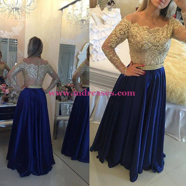 Long Sleeve Gold Lace Appliques Long Blue Wedding Party Prom Evening Formal Dresses 76