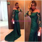 Long Sleeve Green Lace Appliques Wedding Party Prom Evening Formal Dresses 77