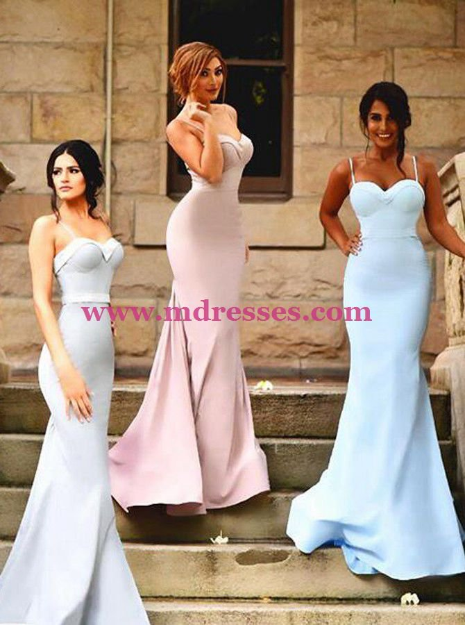 Trumpet/Mermaid Spaghetti Straps Long Prom Evening Formal Bridesmaid Dresses 82