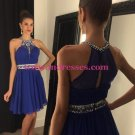A-Line Short Beaded Chiffon Blue Prom Evening Cocktail Homecoming Dresses 87