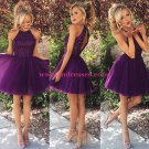 A-Line Short Beaded Purple Prom Evening Bridesmaid Cocktail Homecoming Dresses 90