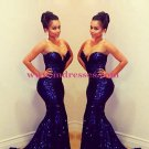 Sexy Sweetheart Long Blue Sequins Prom Evening Formal Dresses 92