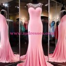 Beaded Long Pink See Through Prom Evening Formal Dresses 94
