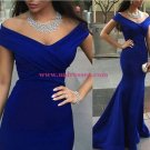 Trumpet/Mermaid Off-the-Shoulder Long Royal Blue Prom Evening Formal Dresses 95