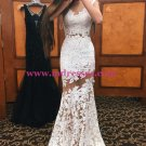 Trumpet/Mermaid Long White See Through Prom Evening Formal Dresses 101