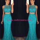 Trumpet/Mermaid Two Pieces Long Blue Lace Prom Evening Formal Dresses 103
