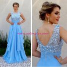 A-Line Long Blue Prom Evening Formal Dresses 105