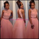 Beaded High Neck Lace Tulle Long Pink Prom Evening Formal Dresses 106