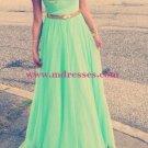 Cap-Sleeves Long Green Chiffon Prom Evening Formal Dresses 108