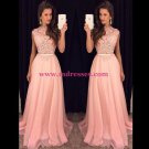 A-Line Long Pink Lace Chiffon Prom Evening Formal Dresses 112