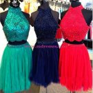 Beaded Two Pieces High Neck Short Prom Evening Cocktail Homecoming Dresses 114