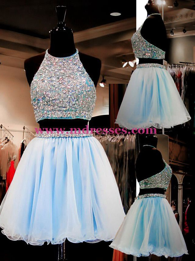 Beaded Two Pieces Short Blue Prom Evening Homecoming Cocktail Dresses 124