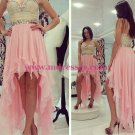 High Low Sweetheart Beaded Short Pink Chiffon Prom Evening Homecoming Cocktail Dresses 127