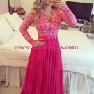 Long Sleeves Beaded Lace Chiffon Long Prom Evening Formal Dresses 135