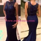 Navy Blue Mermaid Lace Appliques Top Long Prom Evening Formal Dresses 136