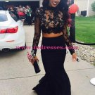 Black Two Pieces Long Sleeves Lace Top Long Prom Evening Formal Dresses 137