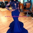 Royal Blue Long Sleeves Mermaid Evening Gowns Sexy Court Train Lace Party Dresses 139