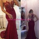 Sexy Mermaid Red Lace Long See Through Prom Evening Formal Dresses 141