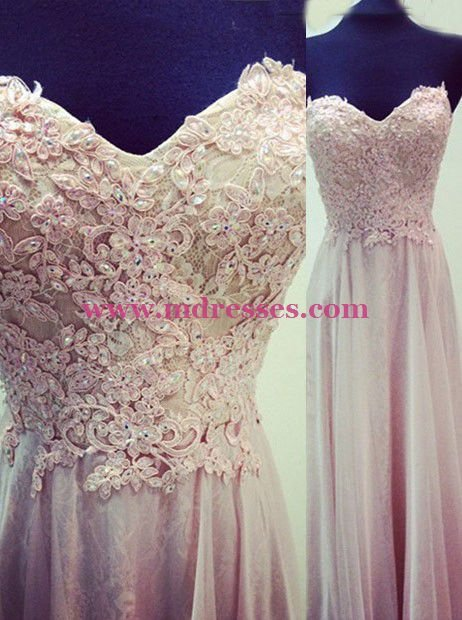 Lace Appliques Sweetheart Long Prom Evening Formal Dresses 145