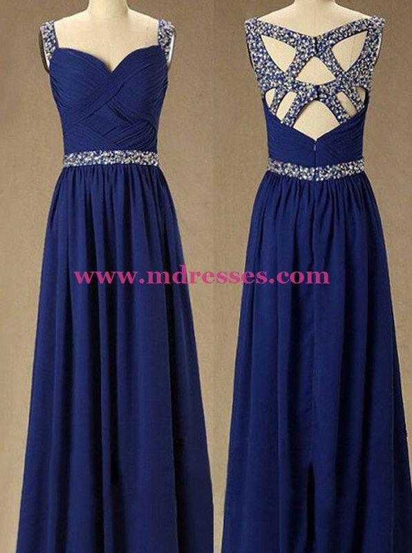 Long Royal Blue Beaded Straps Sleeveless Chiffon Prom Evening Formal Dresses 146