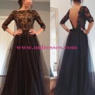3/4 Sleeves Lace Top Long Black Prom Evening Formal Dresses 147