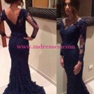 Long Sleeves Lace Mermaid Prom Evening Formal Dresses 152