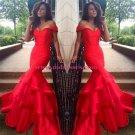Long Red Off-the-Shoulder Prom Evening Formal Dresses 156