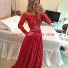 Long Sleeves Lace Appliques Top Off-the-Shoulder Red Prom Evening Formal Dresses 162