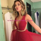 Long Red Pleated Prom Evening Formal Dresses 169