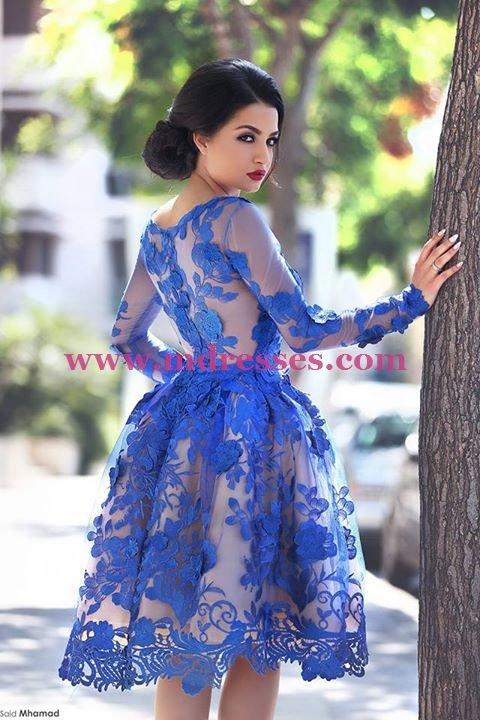 Blue Short Knee-Length Homecoming Prom Evening Formal Dresses 171