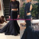 Two Pieces High Neck Long Sleeves Beaded Black Prom Evening Formal Dresses 177
