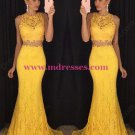 Two Pieces Yellow Lace Mermaid Long Prom Evening Formal Dresses 180