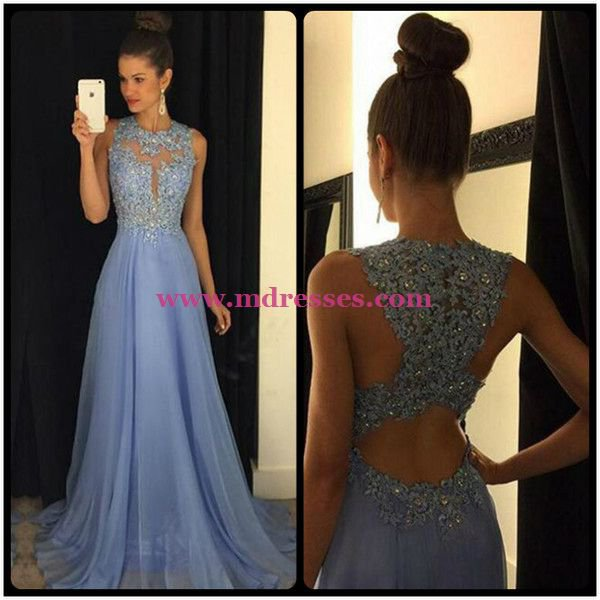 A-Line Lace Appliques Top Long Blue Prom Evening Formal Dresses 181