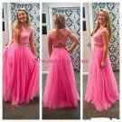 Two Pieces Lace Top Long Pink Prom Evening Formal Dresses 185