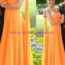 A-Line Beaded One-Shoulder Long Chiffon Prom Evening Formal Dresses 186