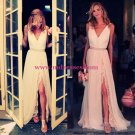 Sheath/Column V-Neck Front Split Lace Chiffon Prom Evening Formal Dresses 191