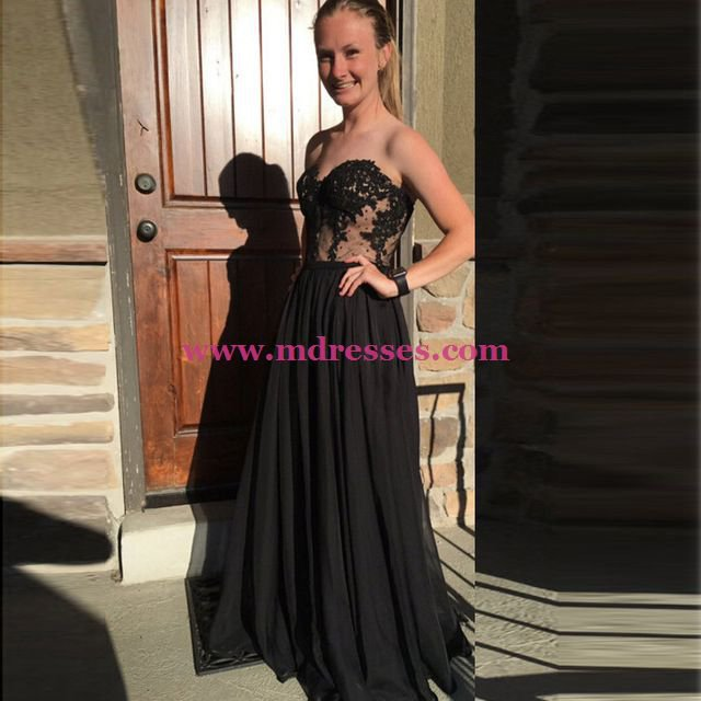 Long Black Lace Top Prom Dresses Sweetheart Evening Gowns 195