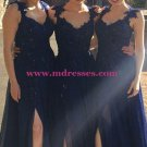 Navy Blue Lace Appliques Chiffon Long Bridesmaid Dresses Prom Evening Gowns 198