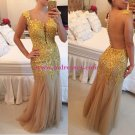 God Lace Appliques See Through Back Long Prom Dresses Evening Gowns 201