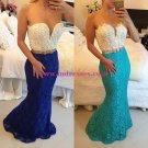 Blue White Lace Long Mermaid Prom Dresses Evening Gowns 202