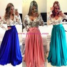 Royal Blue White Long Sleeves Prom Dresses Evening Gowns 203
