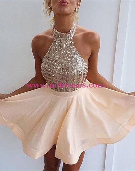 Halter Sequins Short Backless Homecoming Cocktail Prom Dresses Evening Gowns 204