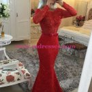 Red Long Sleeves Lace Mermaid Prom Dresses Evening Gowns 207