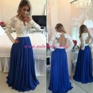 Royal Blue White Lace Chiffon Long Sleeves Prom Dresses Evening Gowns 208