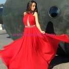 Beaded Red Long Chiffon Prom Dresses Evening Gowns 212