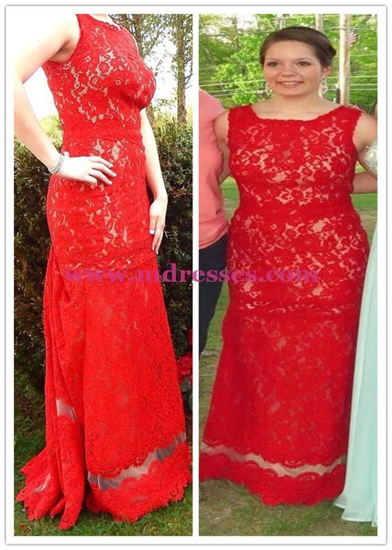 Long Red Lace Prom Dresses Evening Gowns 215