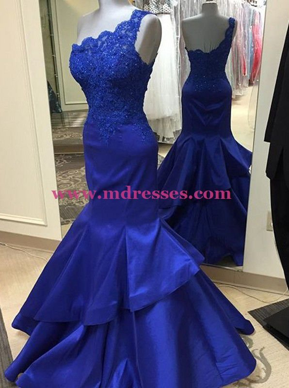 Trumpet/Mermaid Royal Blue One-Shoulder Lace Appliques Top Long Prom Dresses Evening Gowns 222