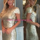 Gold Sequins Long Bridesmaid Prom Dresses Evening Gowns 226
