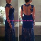 Long Blue Lace See Through Prom Dresses Evening Gowns 228